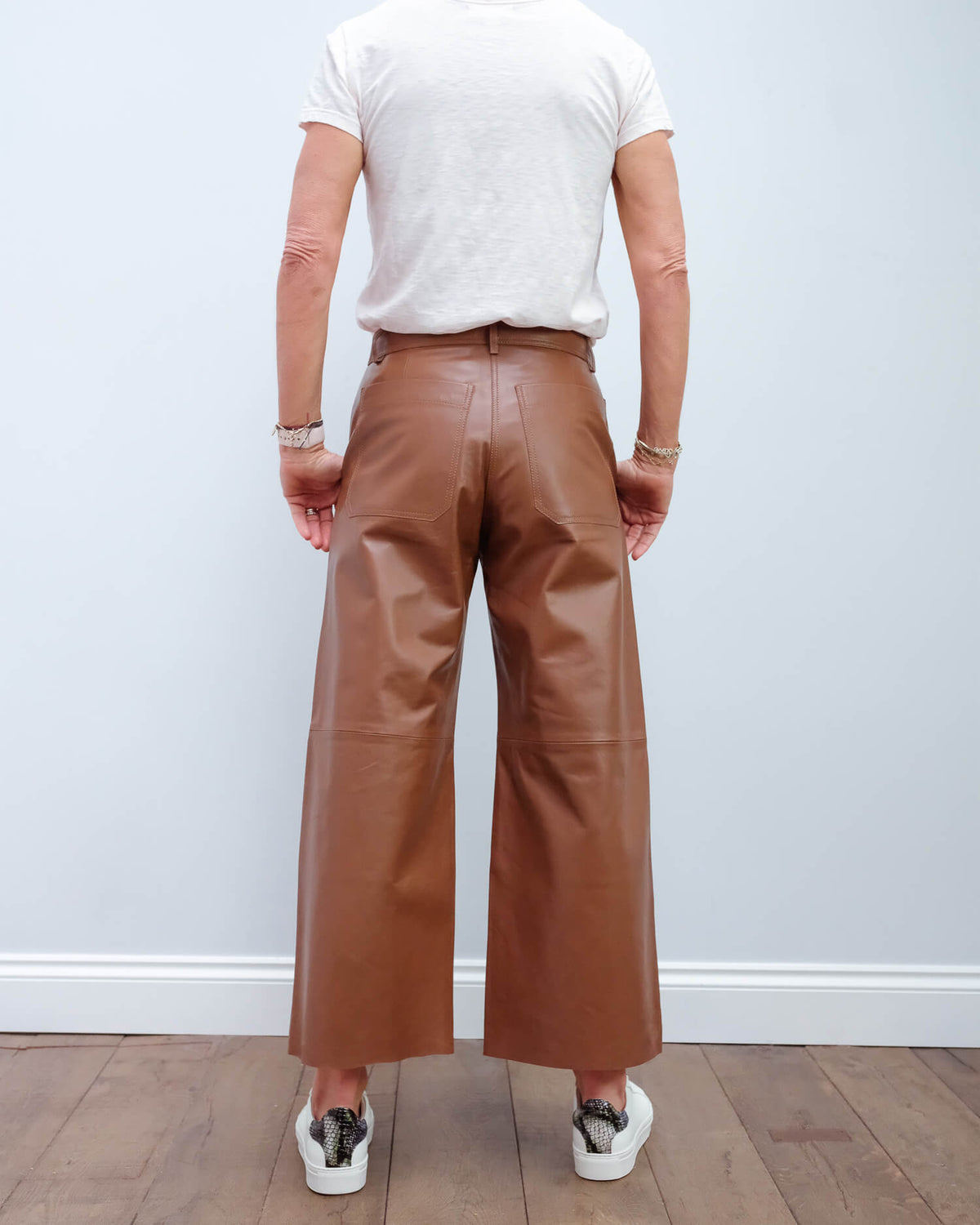 MM Atalia leather trouser in brown