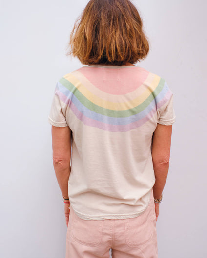 JU Rainbow yoke tee in aluminium