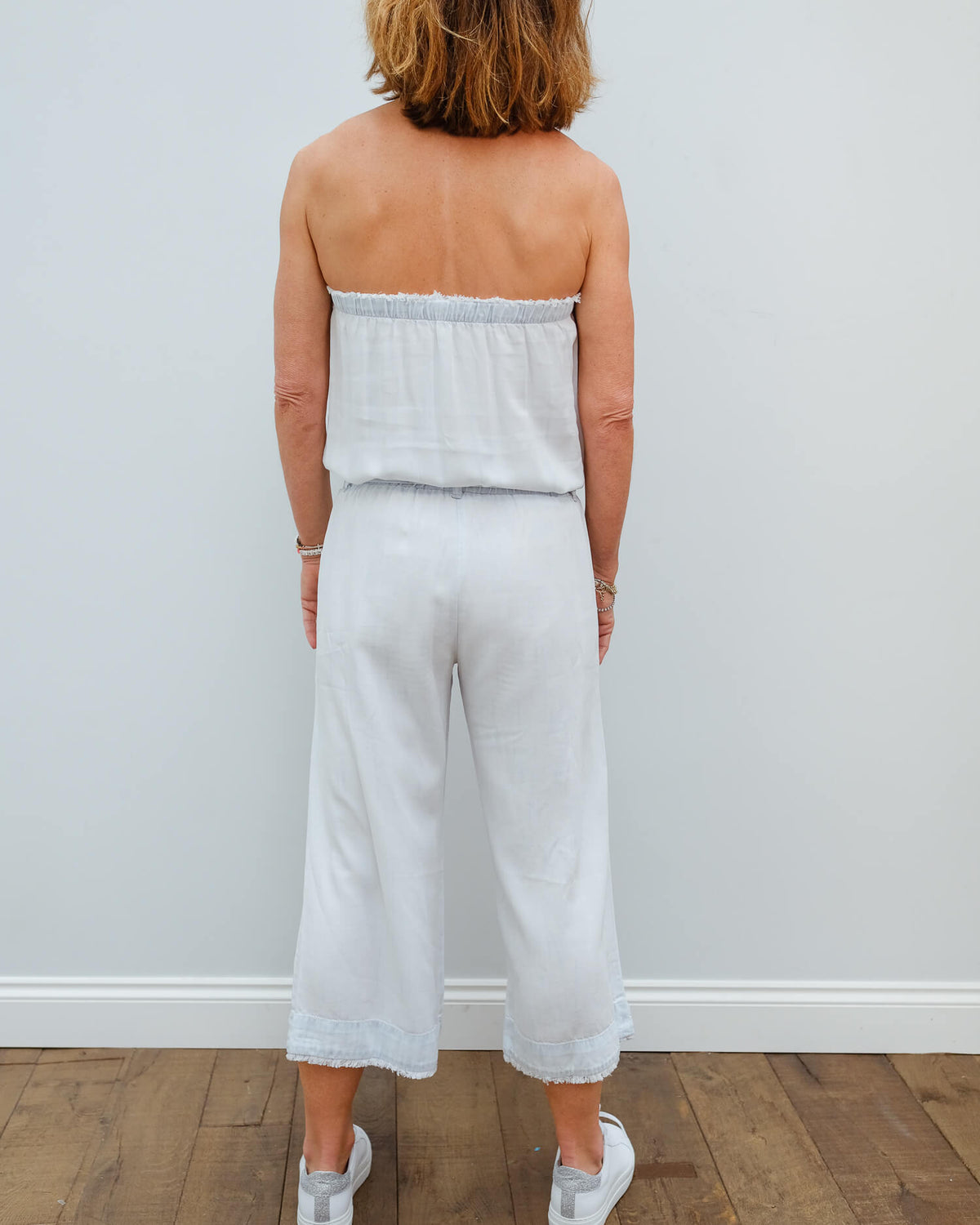 BD 6053 Strapless crop jumpsuit in white out