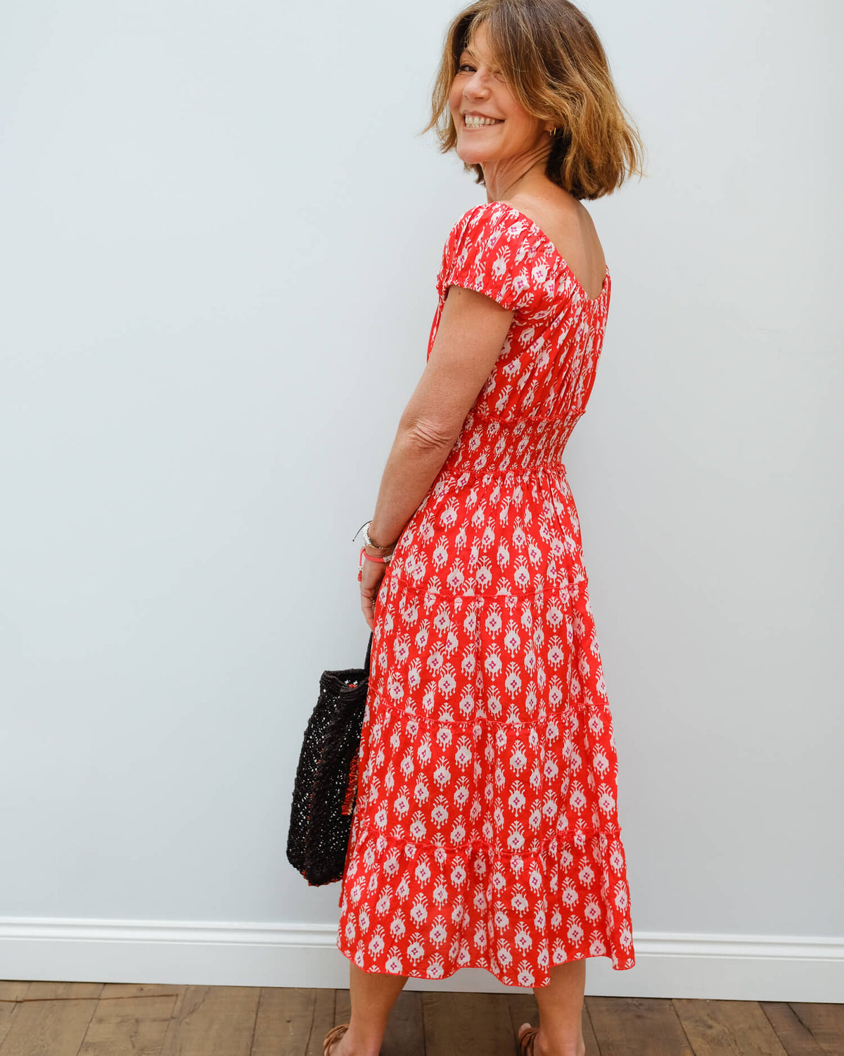 PCP Rah rah midi dress in ruby ikat