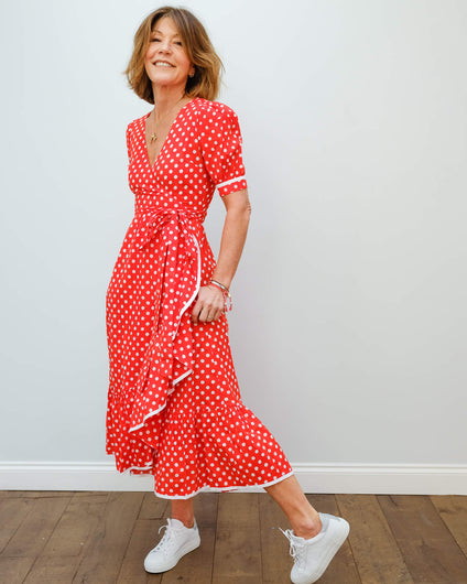 PCP Wrap dress in ruby polka