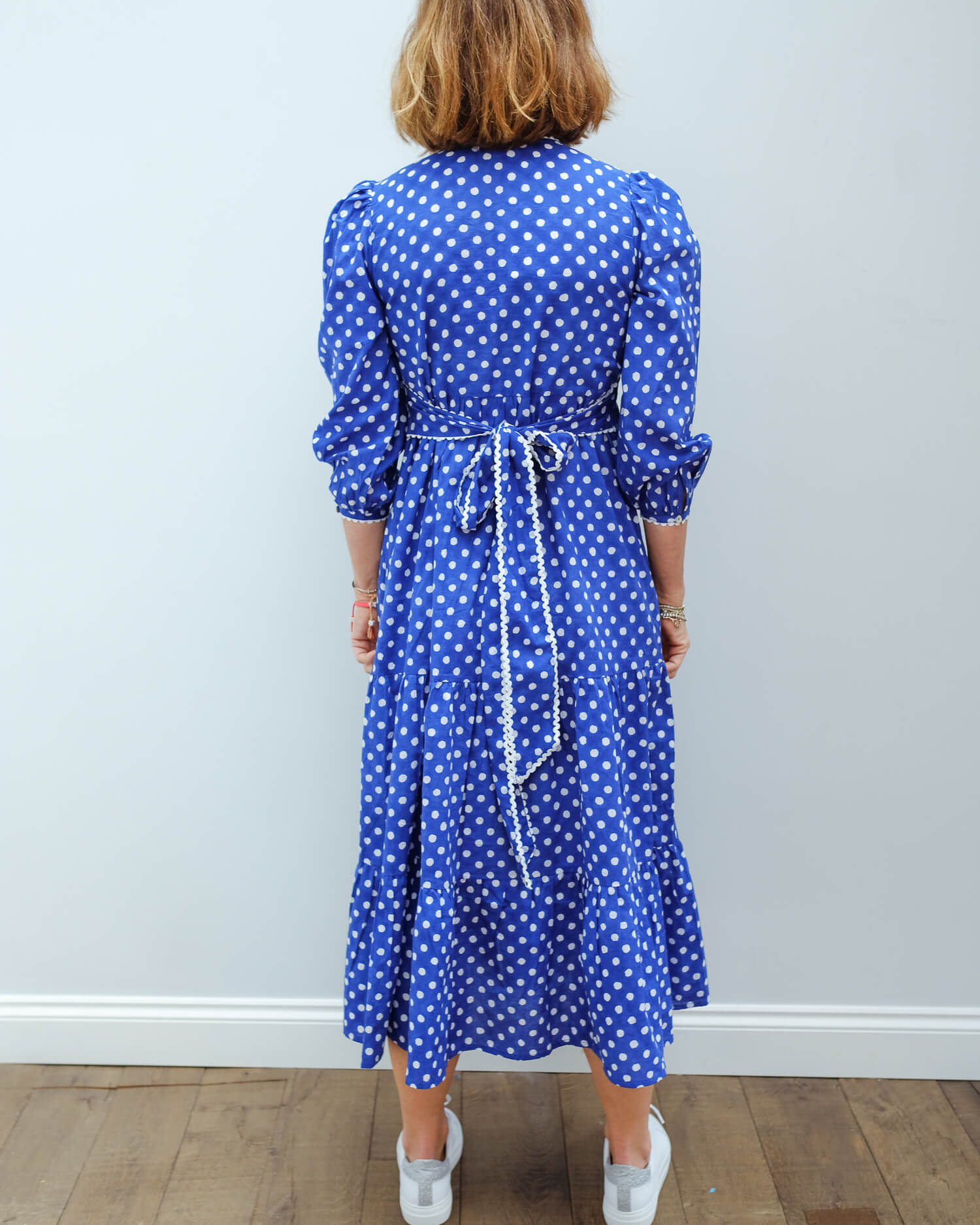PCP Chloe dress in indigo polka