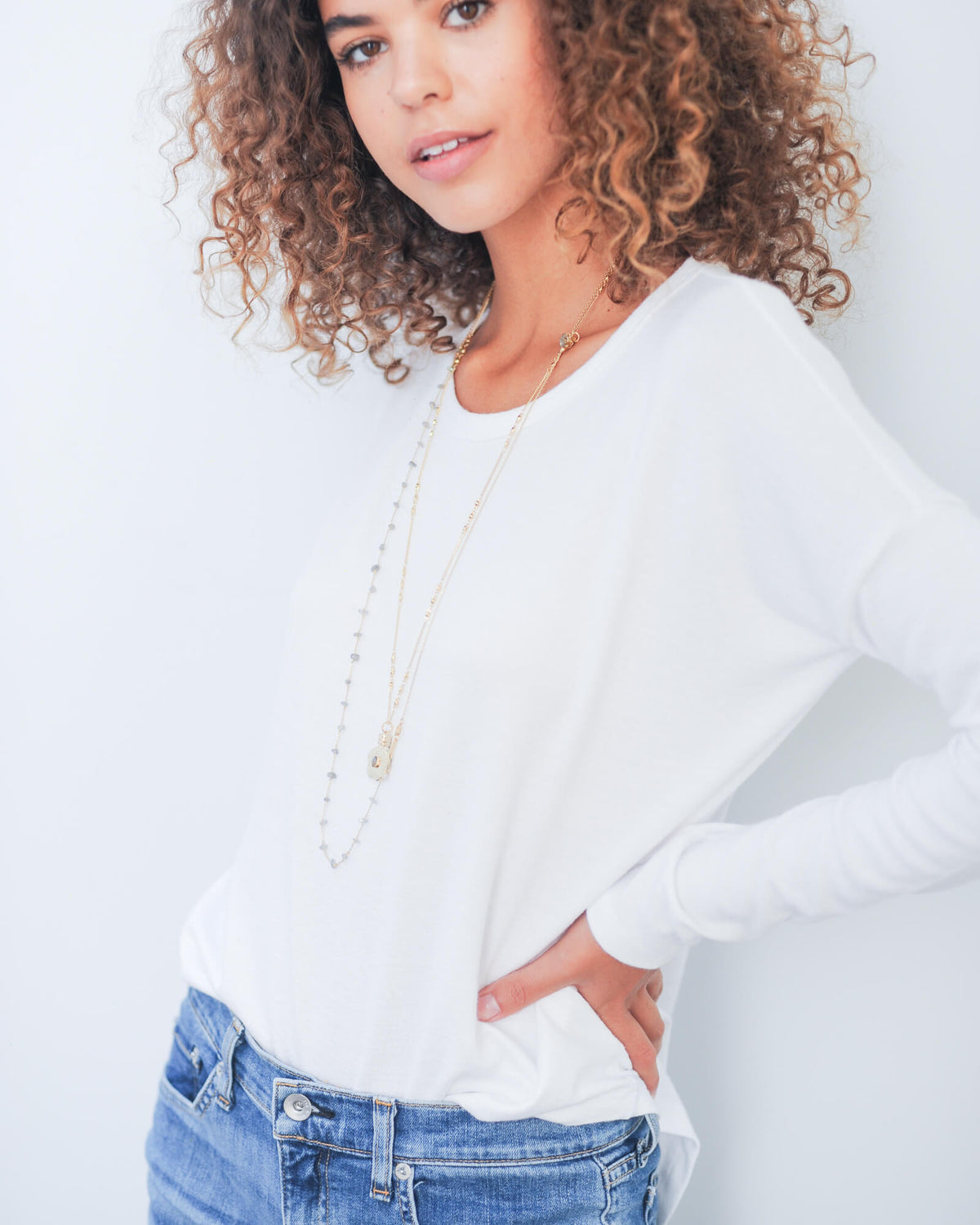 R&B Hudson LS top in white