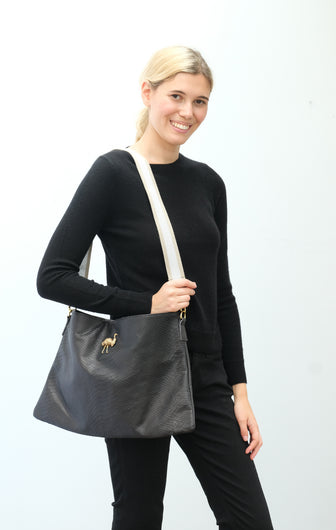 SLP Zaza bag in black with ostrich motif, silver strap