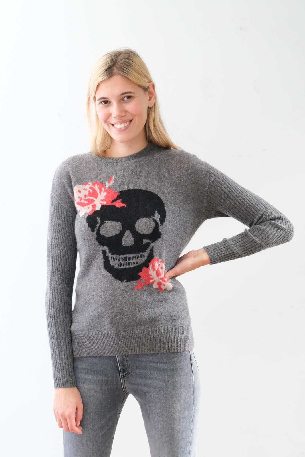 360 Rosye skull knit in grey