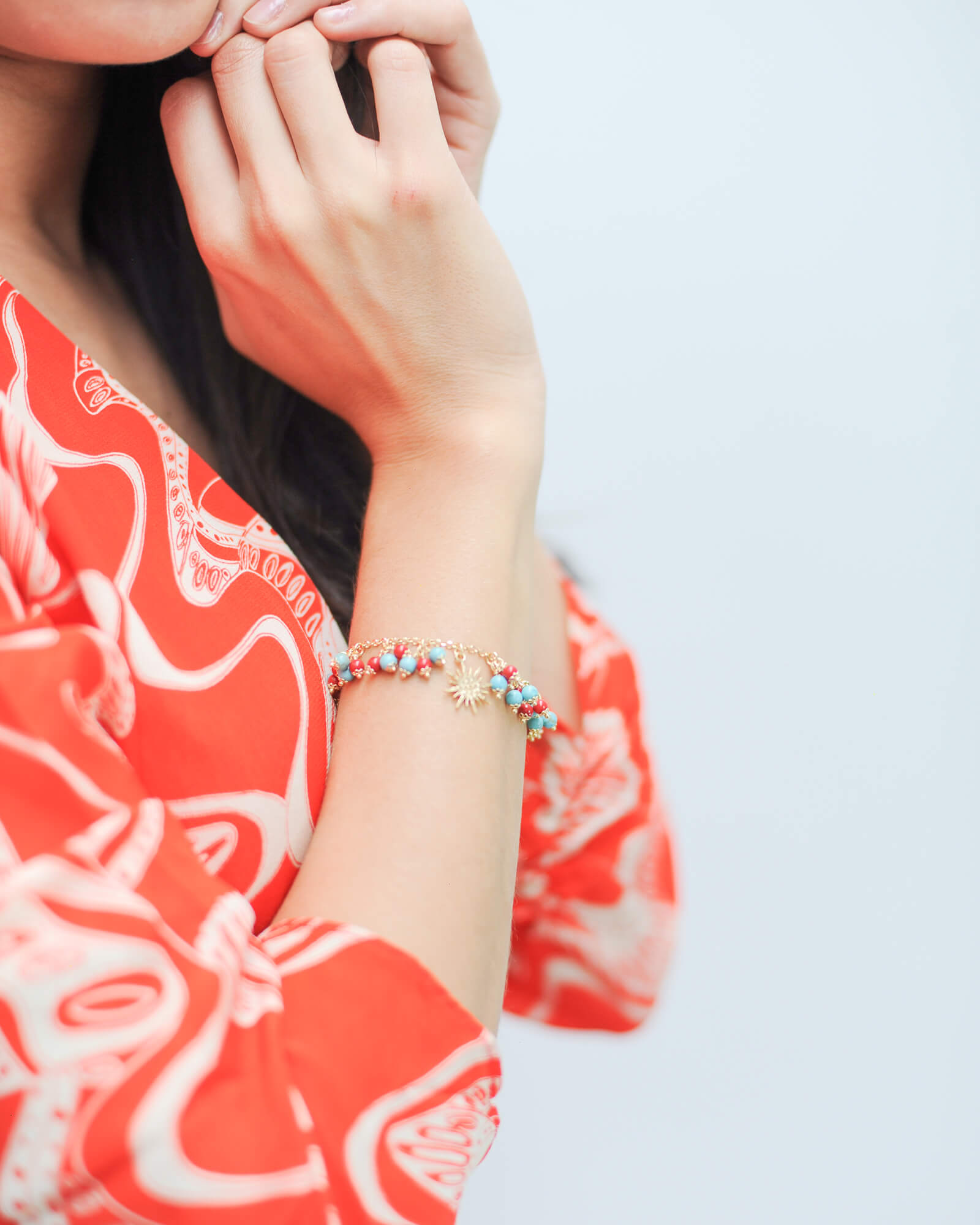 Coral and turquoise star bracelet