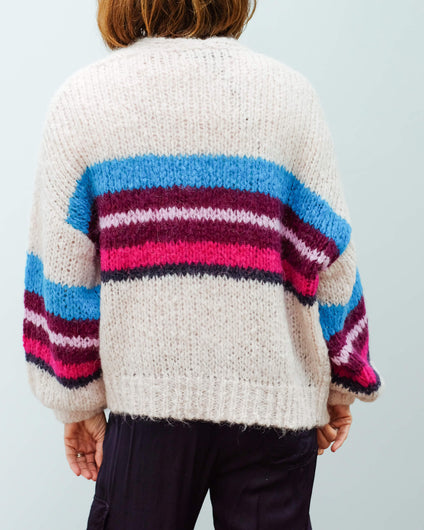 360 Izabel cardi in multi stripe