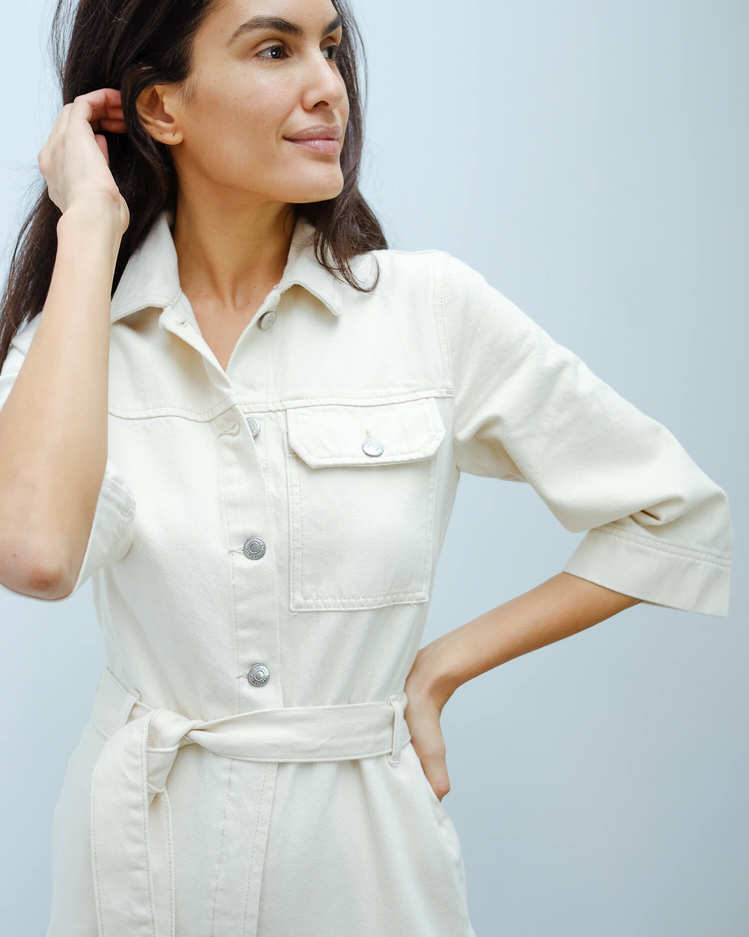 SLF Helena white denim jumpsuit
