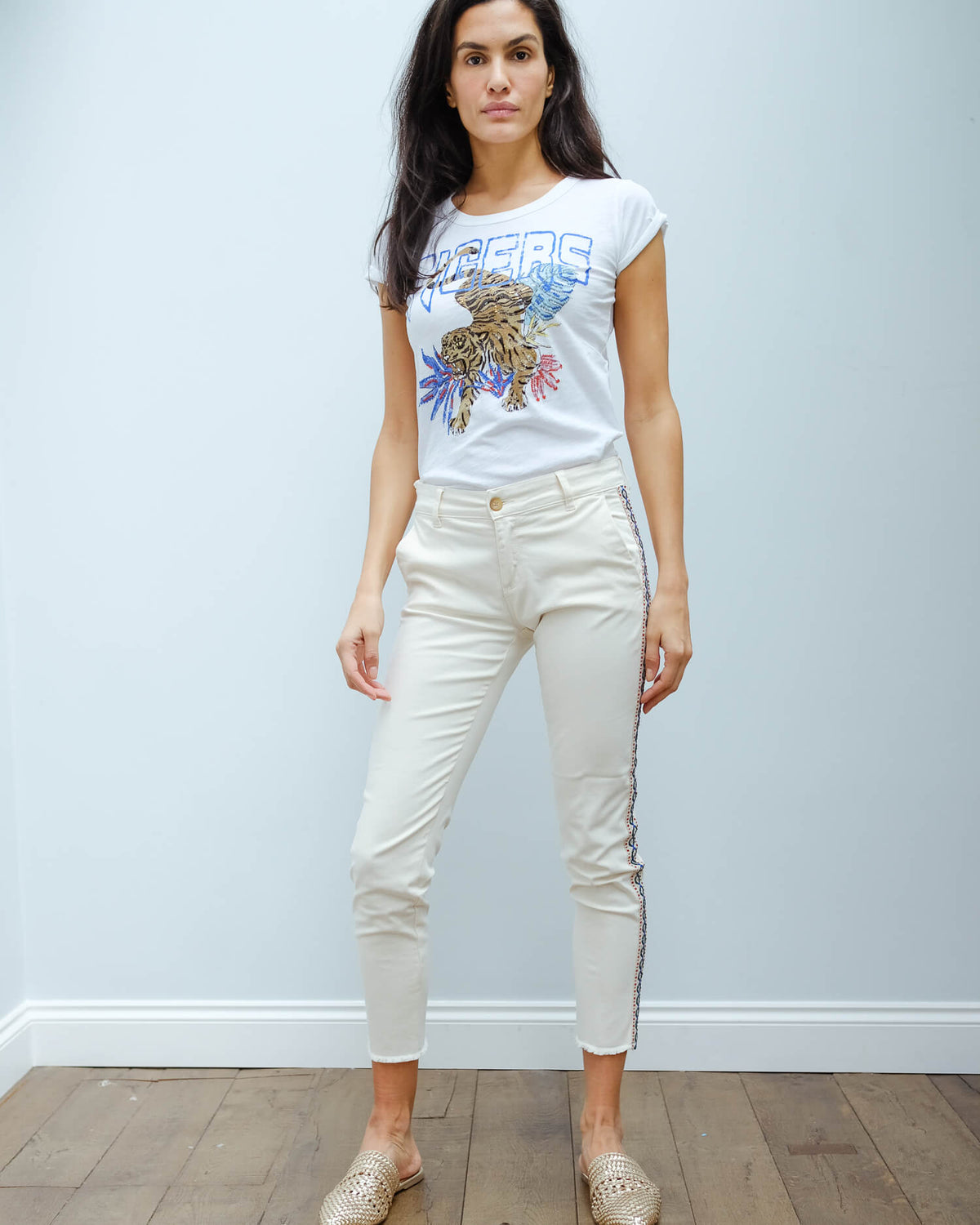 FIVE Cathy cigarette trousers in off white