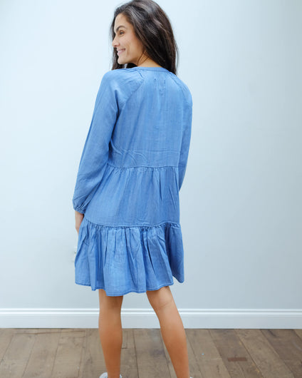 SEC. F Lilla LS dress in blue denim