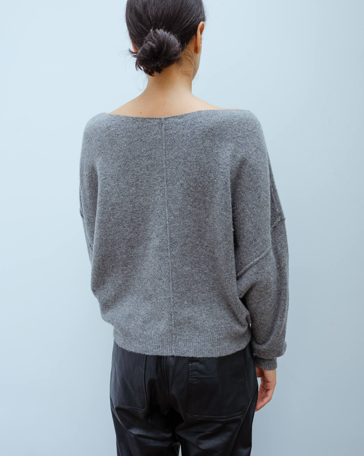 AV DAM225 LS top in grey chine