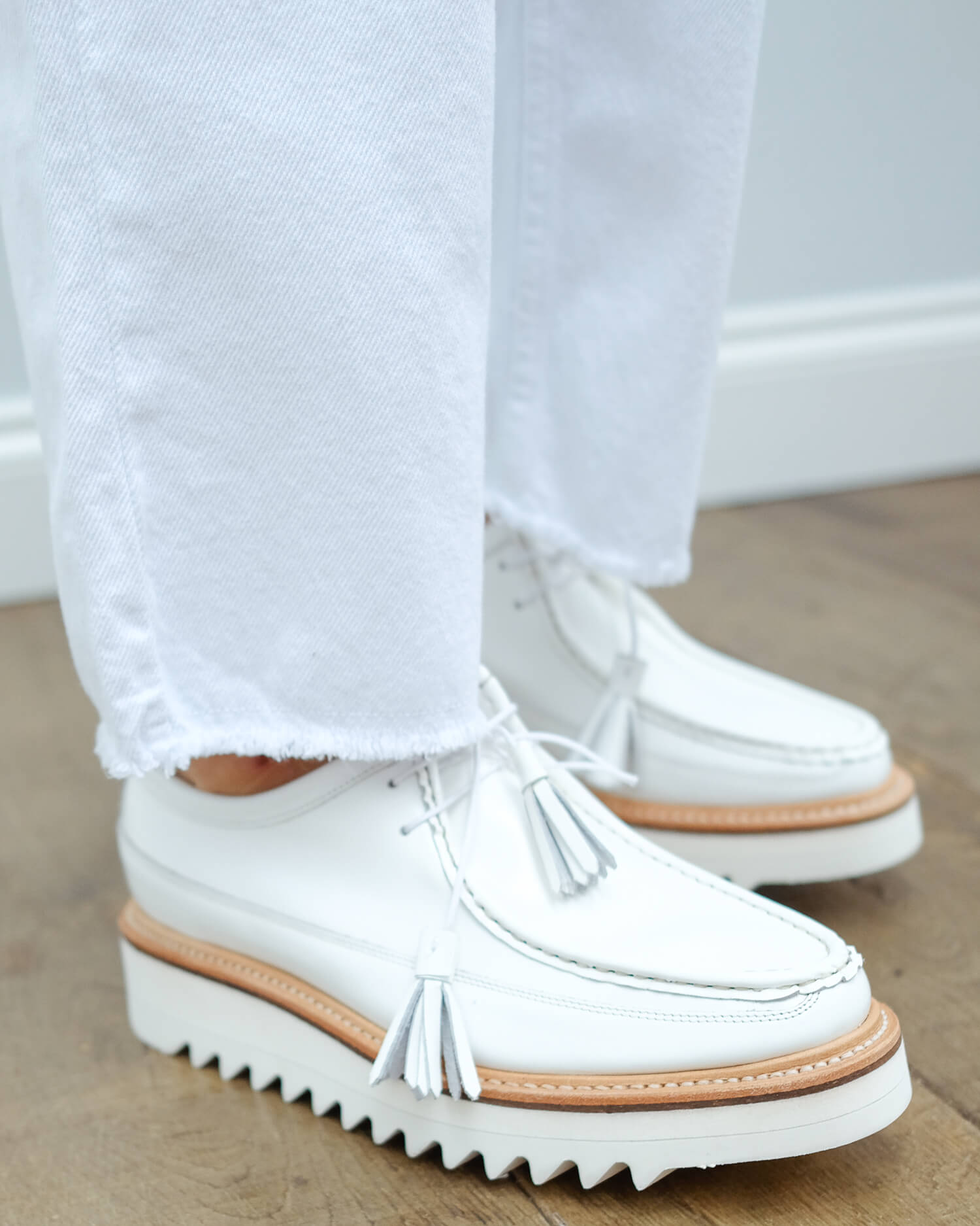 Grenson Beryl derby in white rub