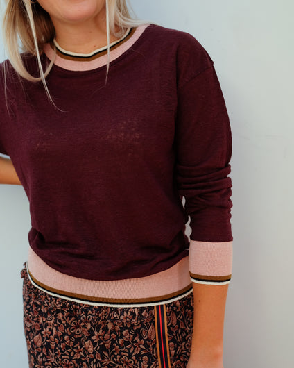 BR Senia Linen Top in Burgundy