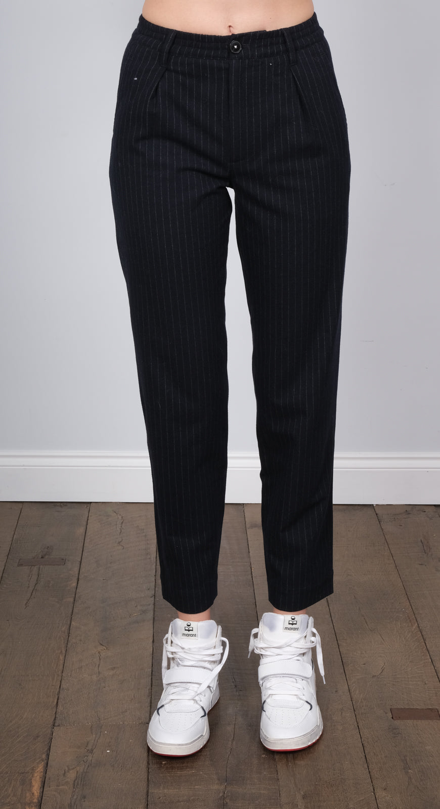 BR Villa pinstripe trousers in navy