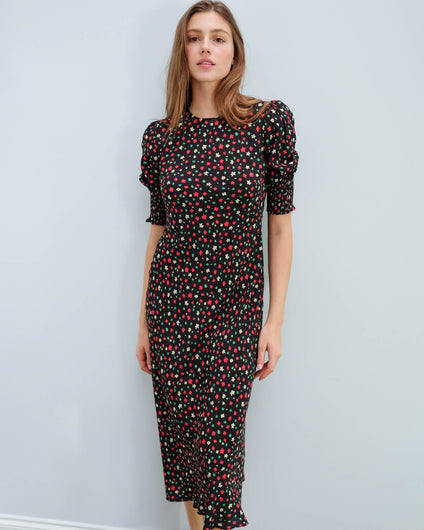 RIXO Jess dress in red green flowers