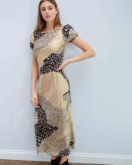 RIXO Reese dress in gold patchwork leopard