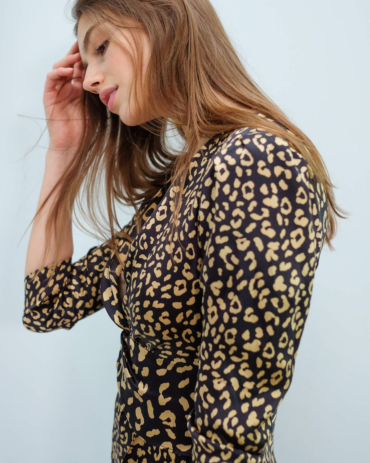 RIXO Lilly dress in leopard black gold