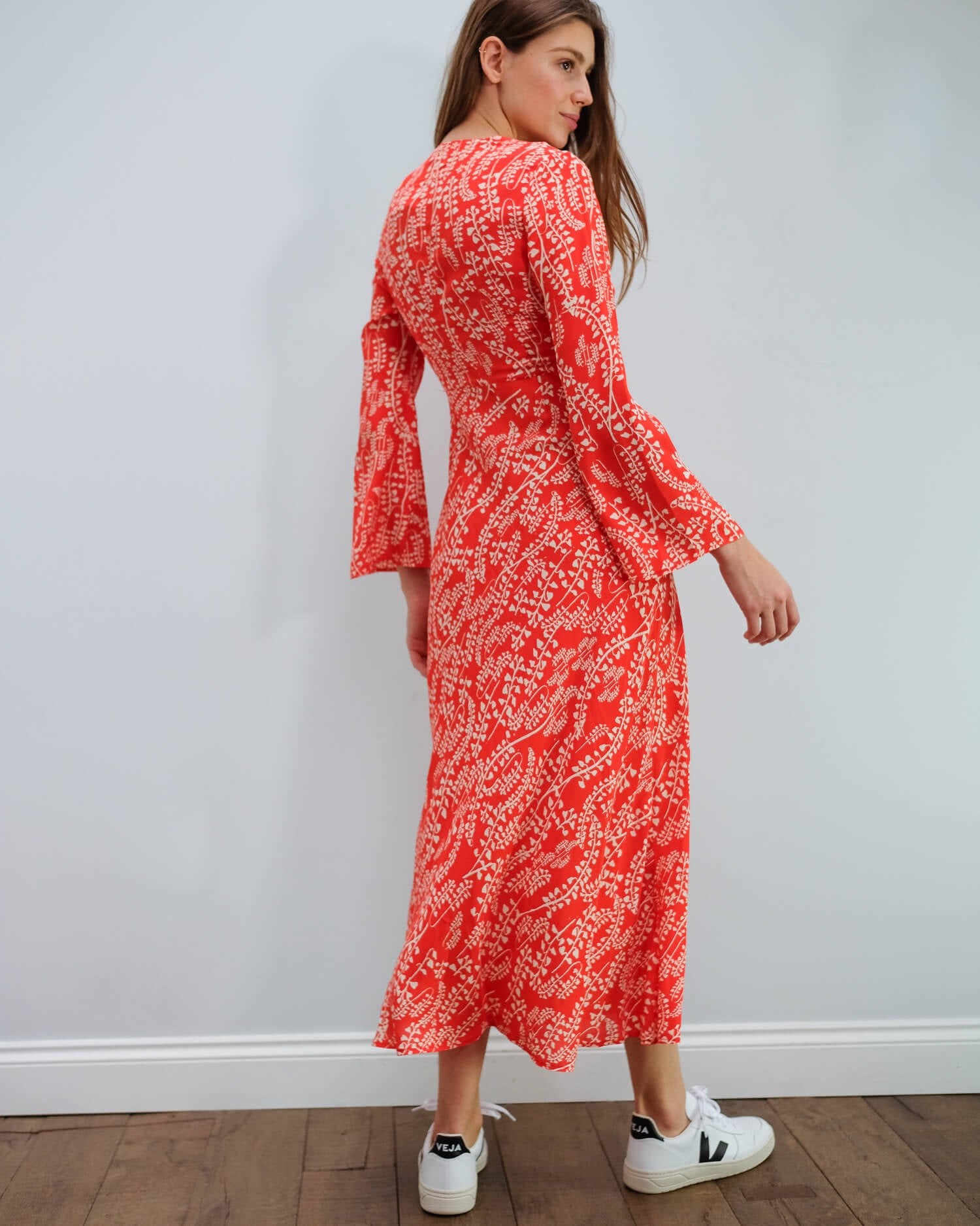 RIXO Sonja dress with tree roots red