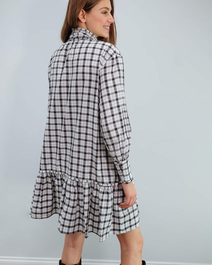 M Jamilla check dress in white