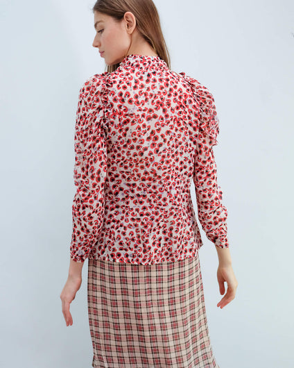 M Jadyn printed top in red