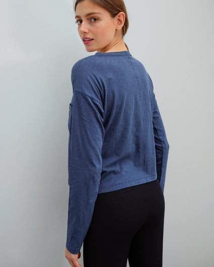 R&B The cropped longsleeve in blue