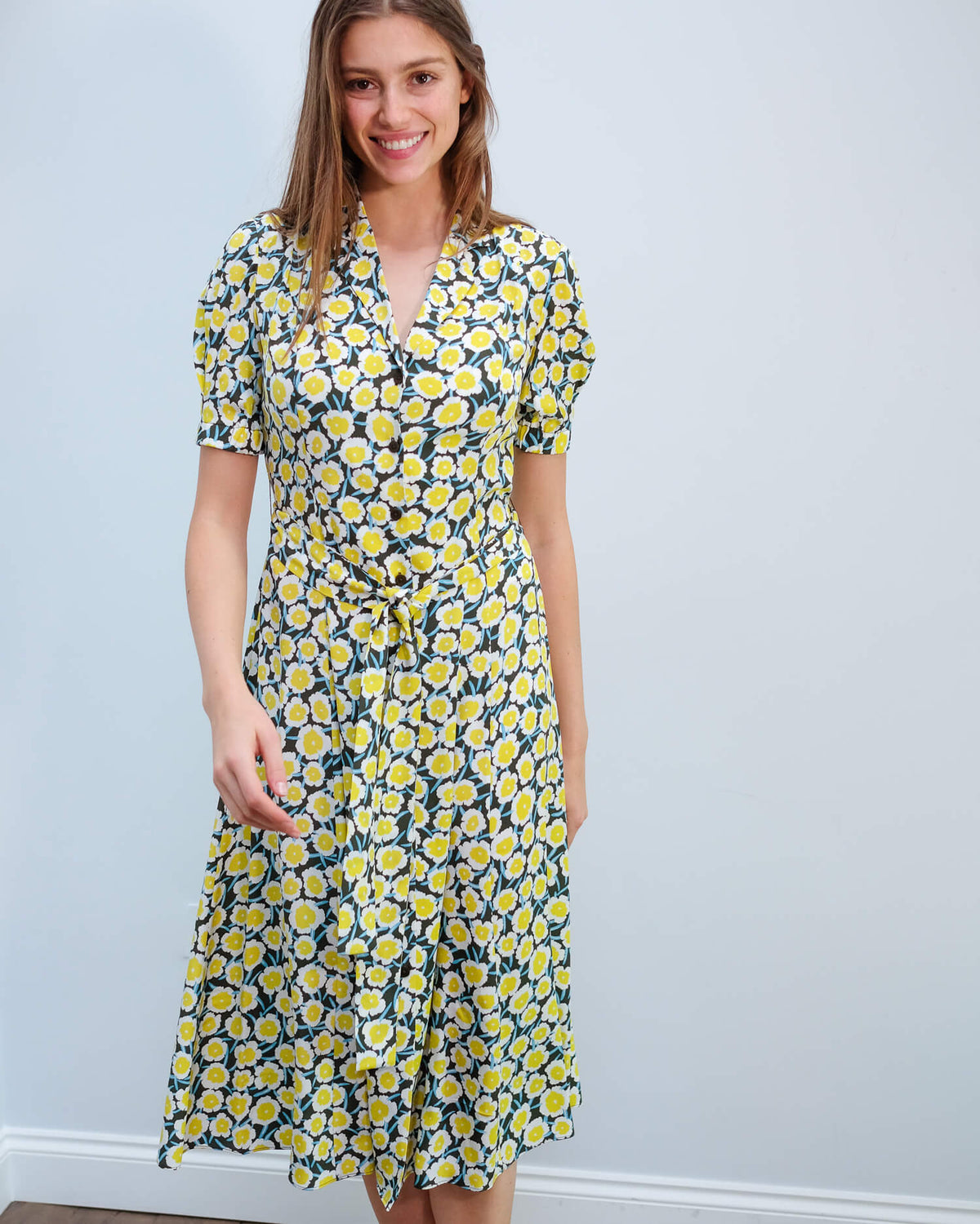 DVF Lily dress in daisies canteen