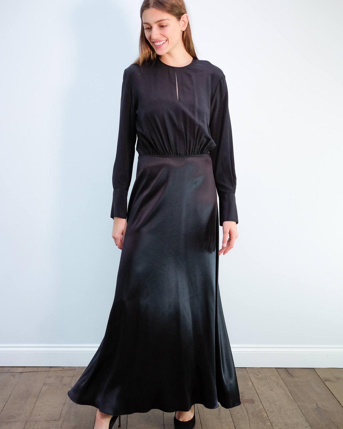 JOSEPH Ray satin dress in black