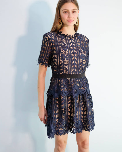SP Lace A-line dress in navy, nude