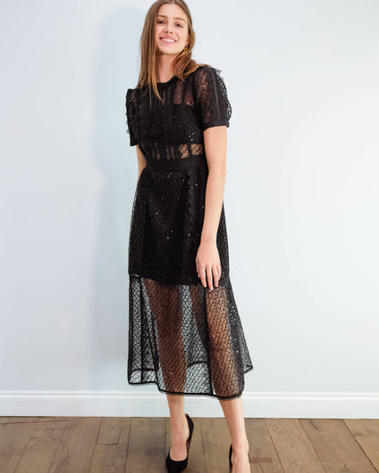 SP Sequin mesh puff sleeve midi dress in black