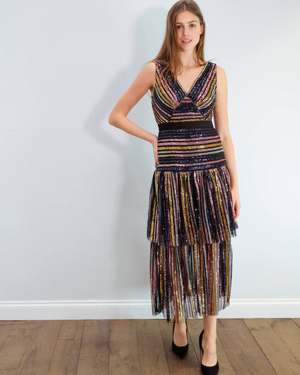 SP Stripe sequin midi dress