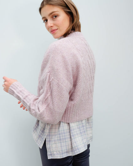 M Joki knit cardi in dark purple