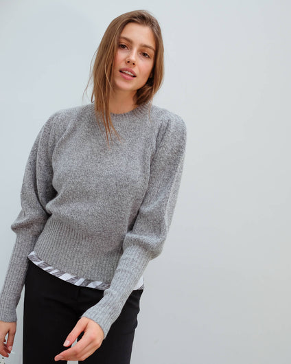 M Jab puff sleeve knit in granite
