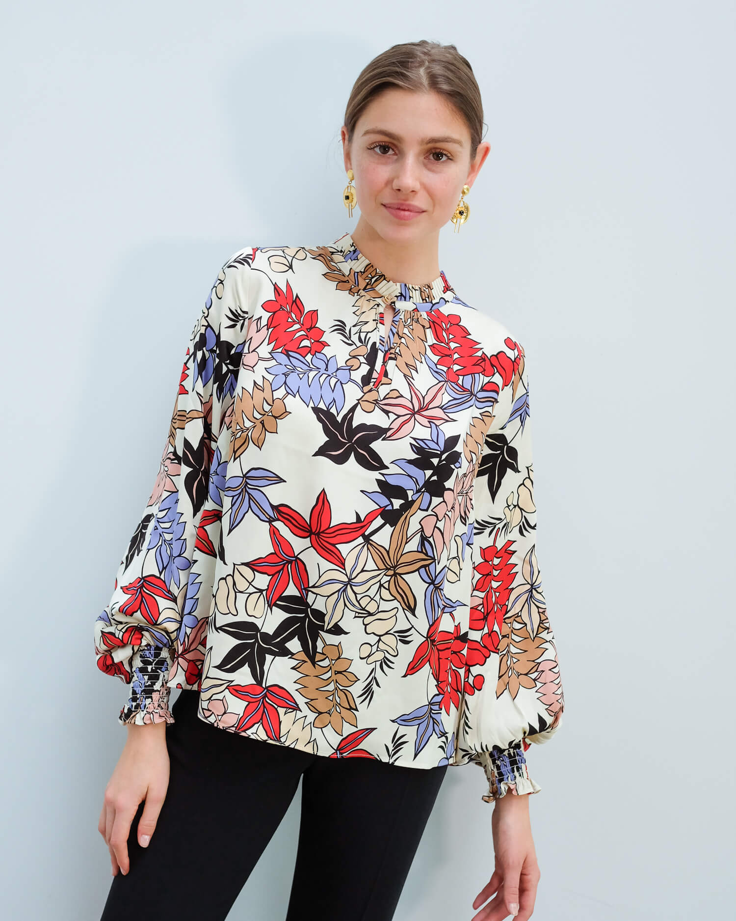 M Jessa floral top in ivory