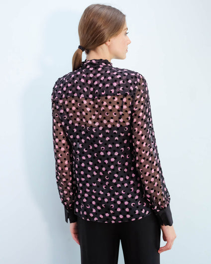 DVF Minnie top in black, pink