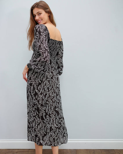 RIXO Marie dress in tree roots black cream