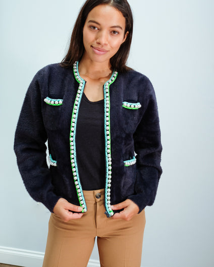 EA Wiri Knit Pearls Cardi in Royal Navy