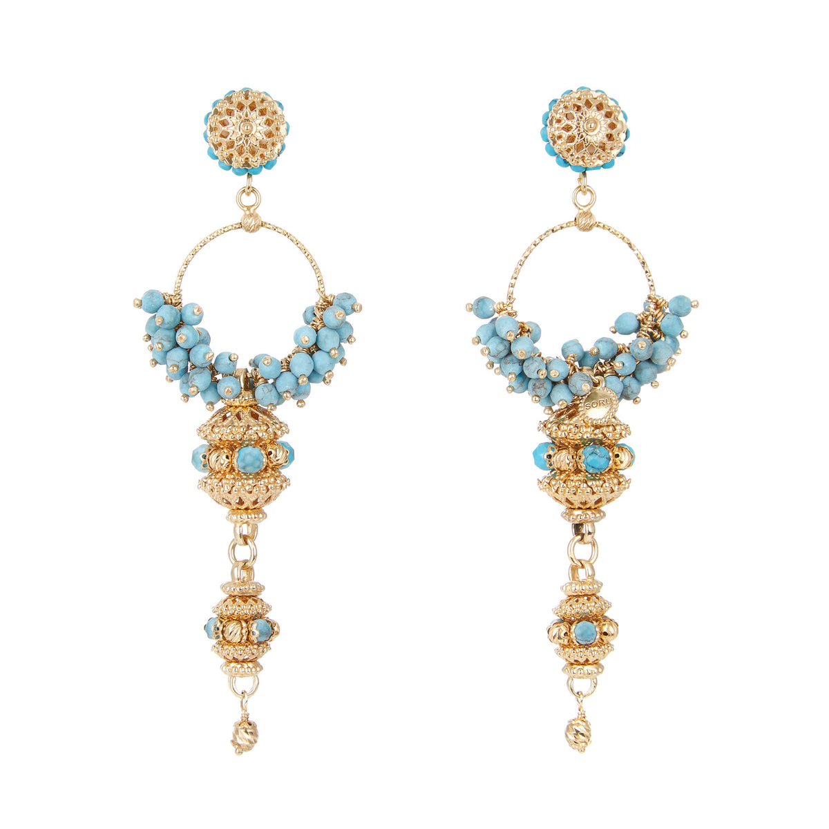 Turquoise hoop cluster earrings