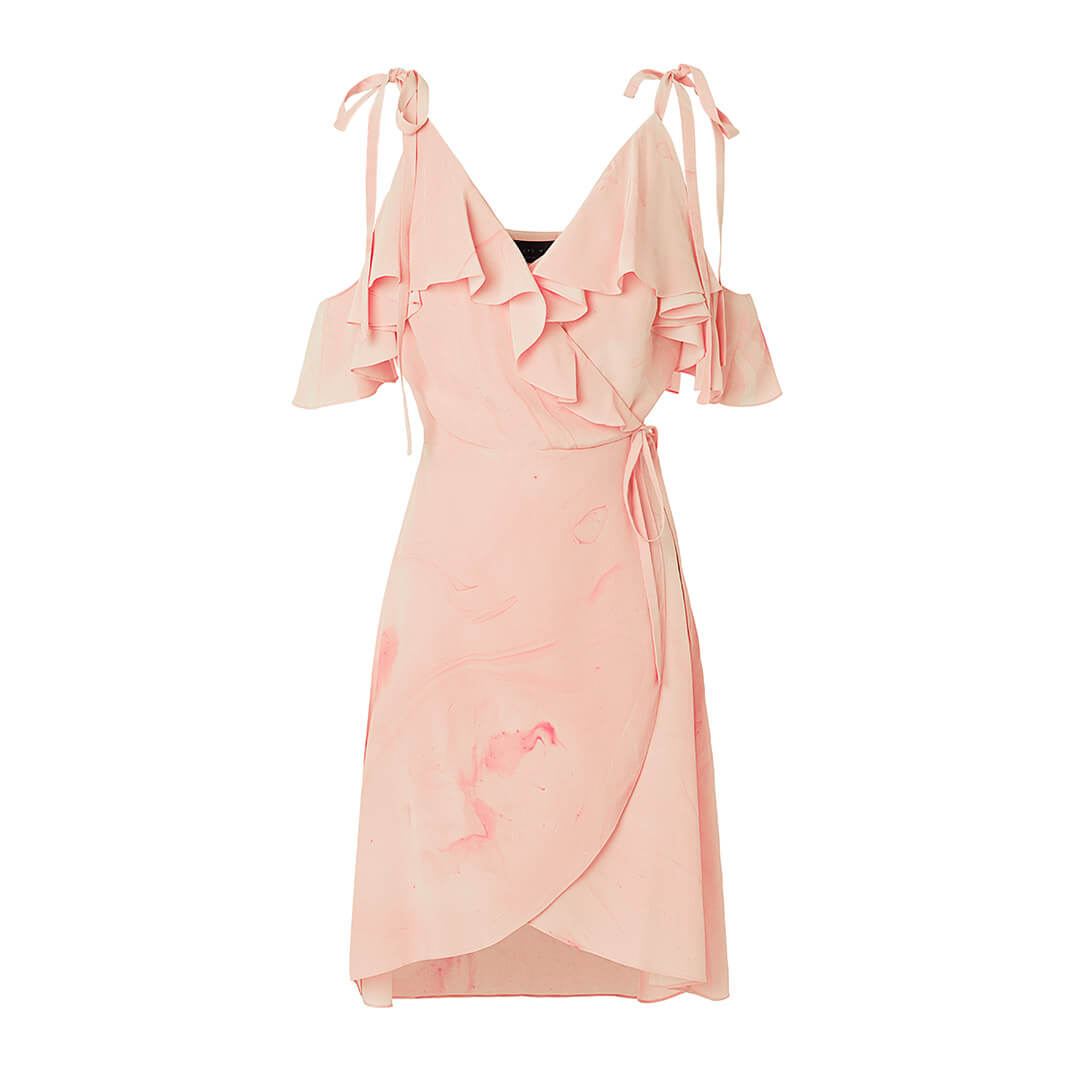 EM Off shoulder dress in pink marble