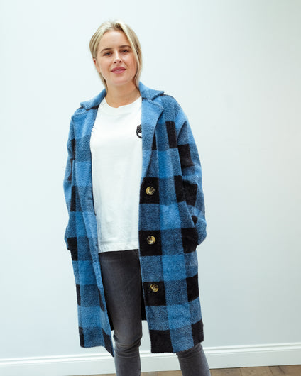 EA Wice check knit cardi in persian sky