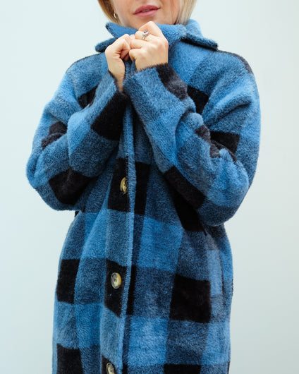 EA Wice Check Knit Coat in Persian Sky