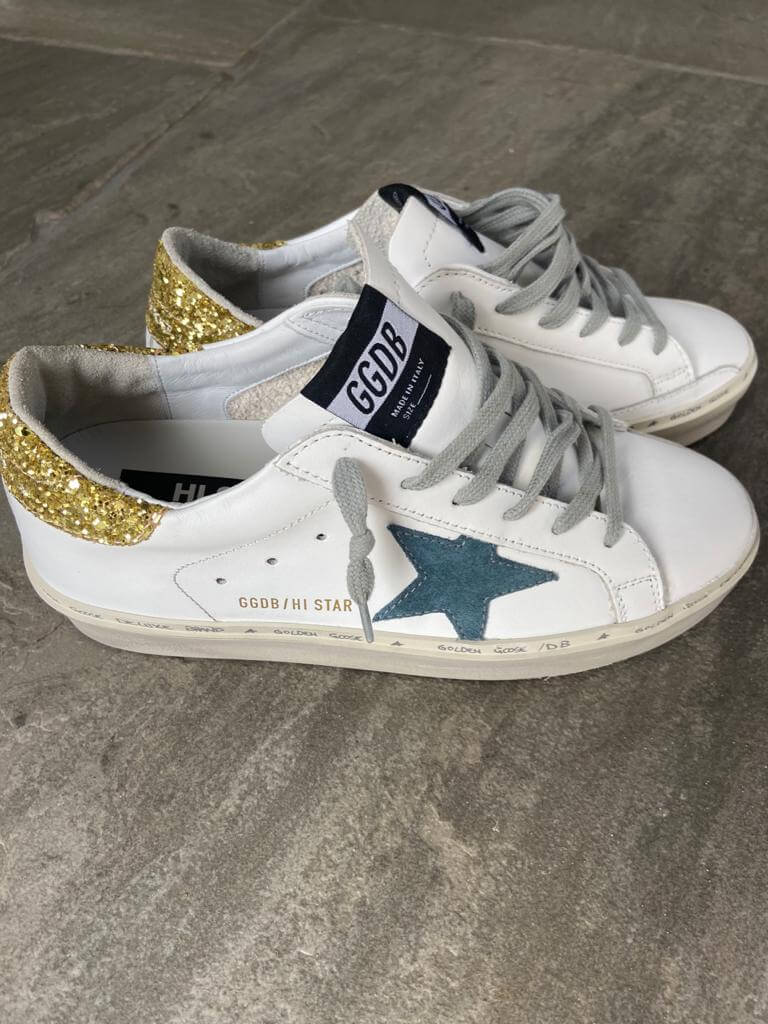 GG Hi star 945 in white with petrol star gold glitter