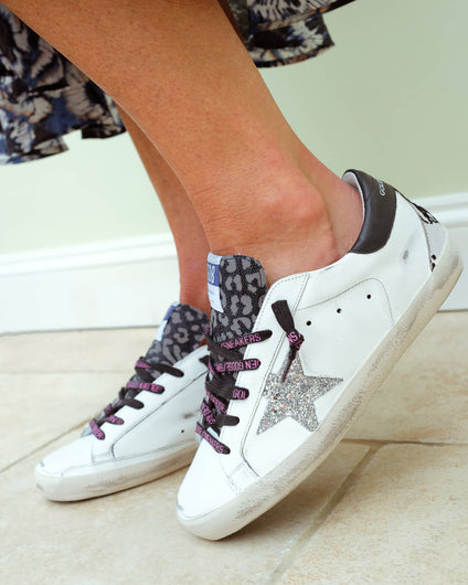 GG Superstar 219 in white with silver glitter star and python heel