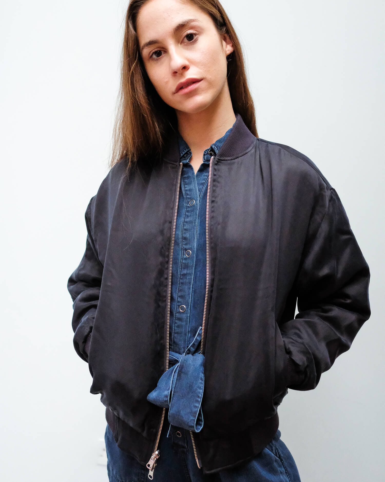 JB Marlo reversible bomber in navy