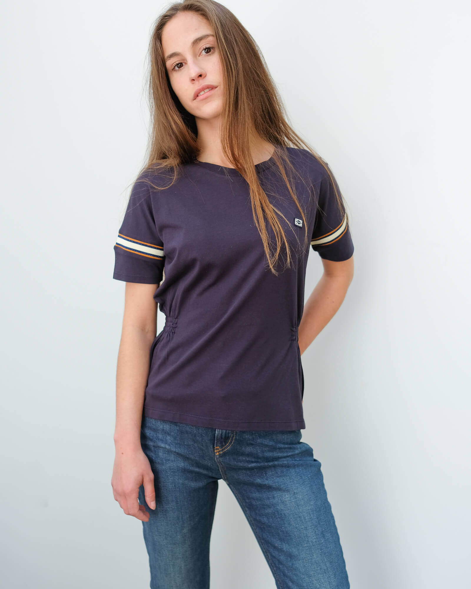 AB 151253 Soft tee with sporty rib detail in navy