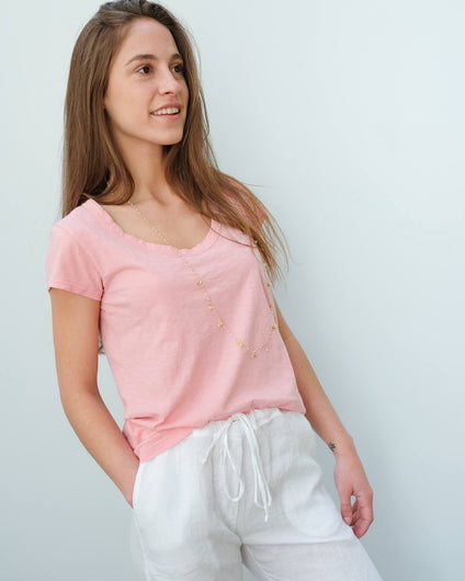 V Katie city slub T-shirt in bubble pink