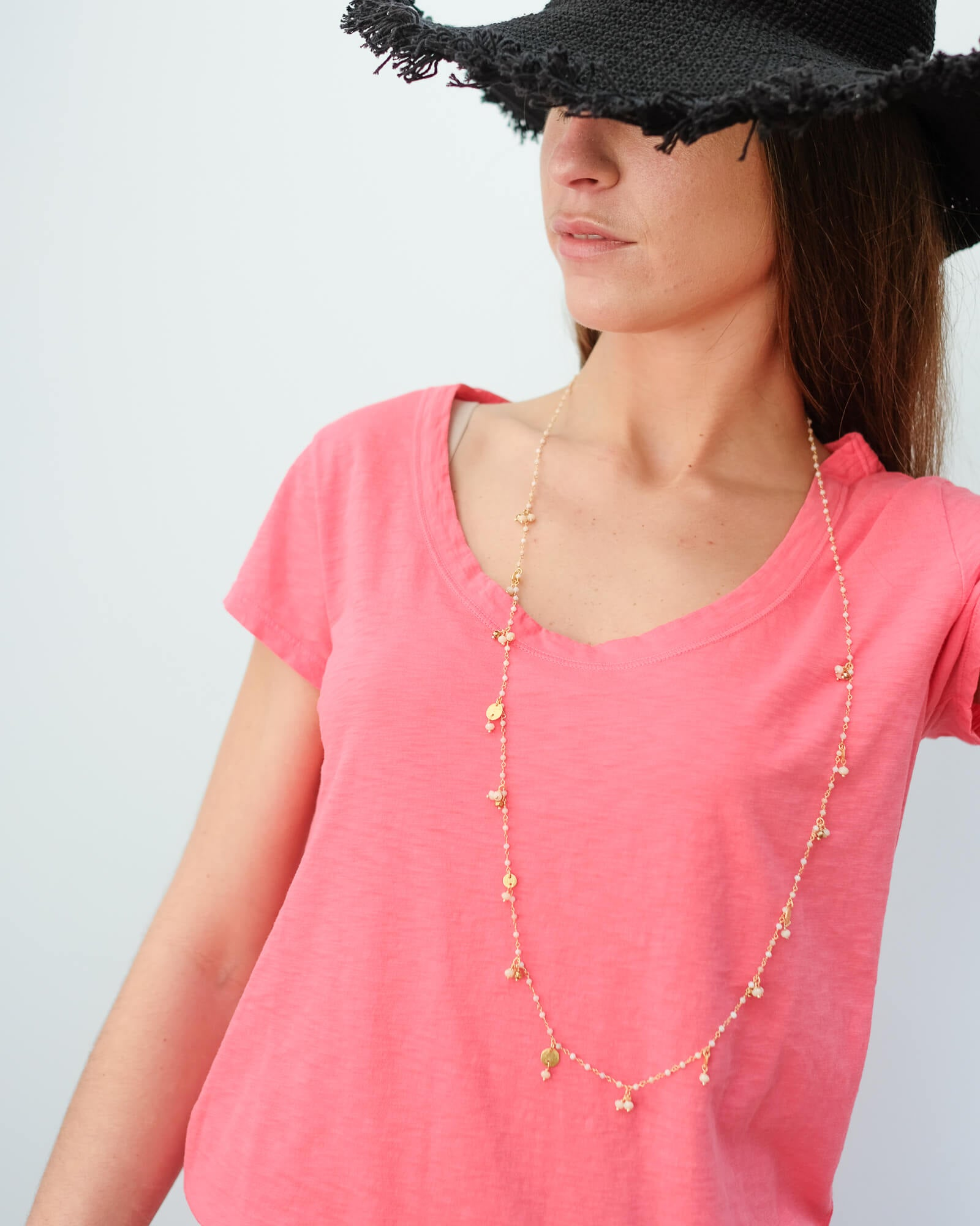 V Katie city slub T-shirt in flirty
