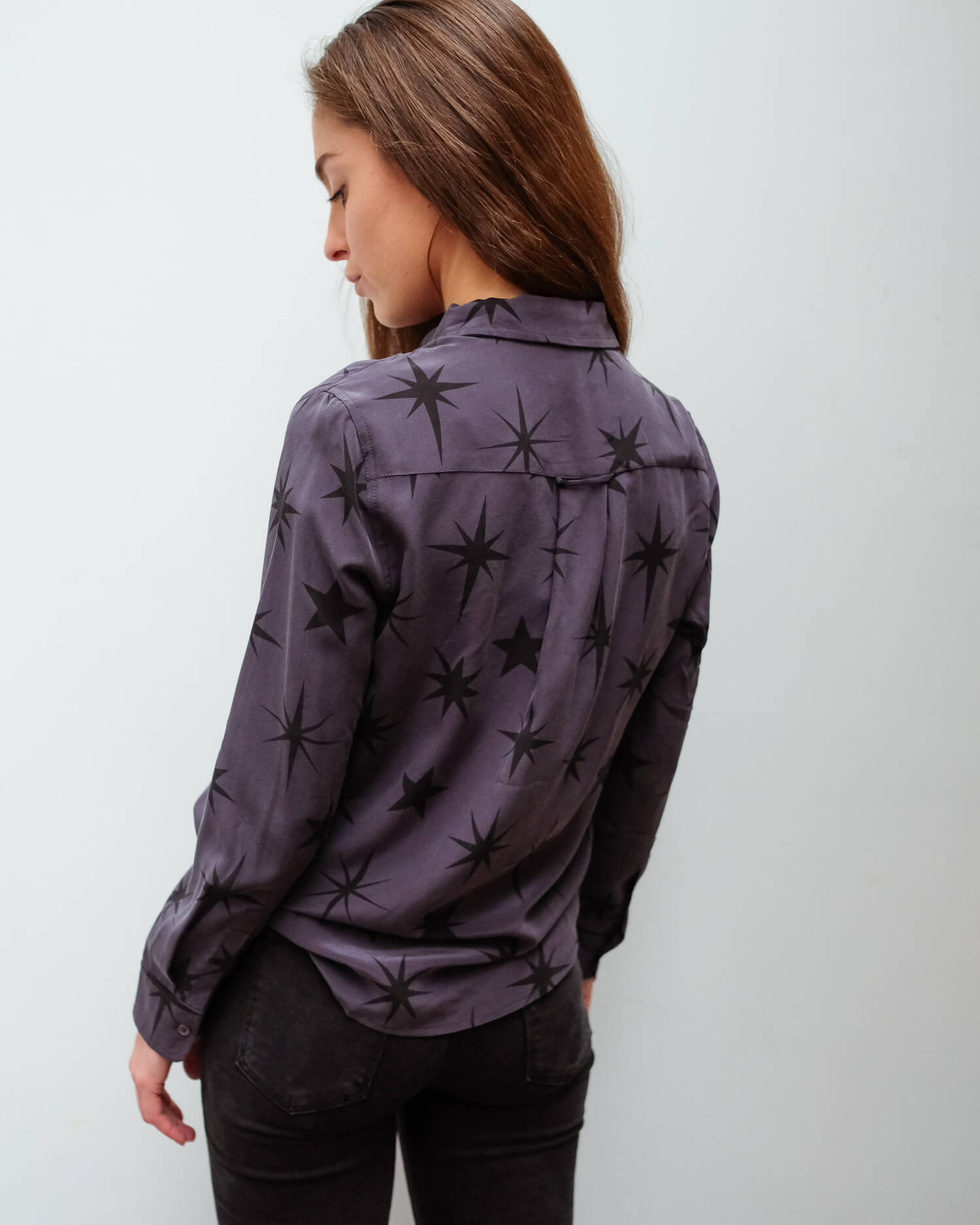 R Kate shirt in charcoal constellations