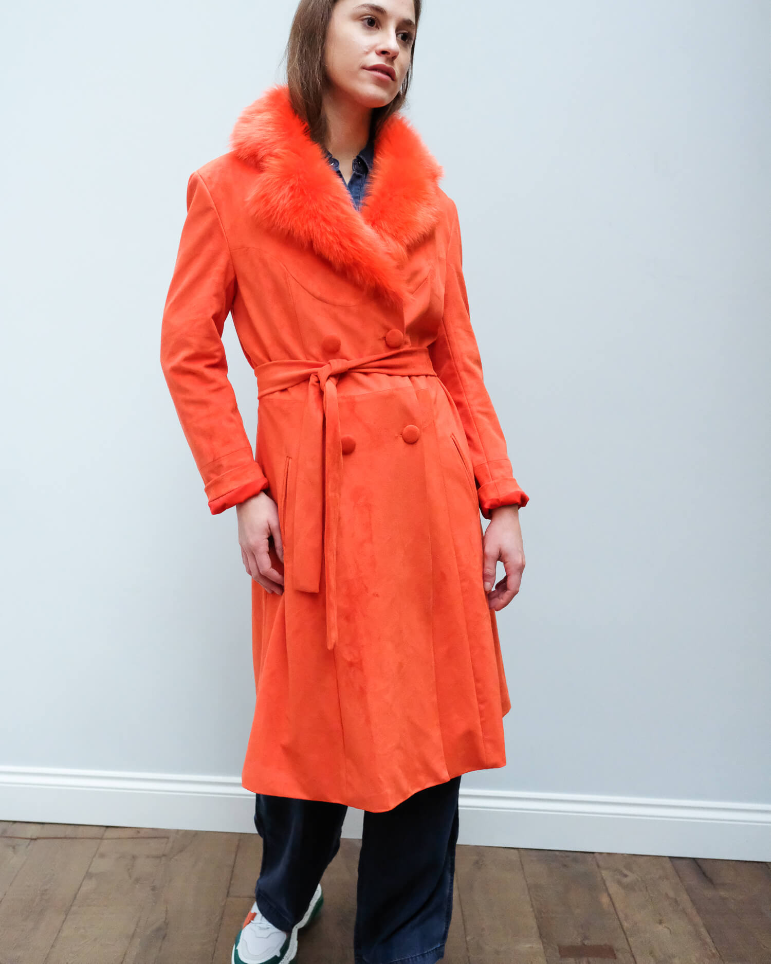 CHS Carrie coat in spicy orange