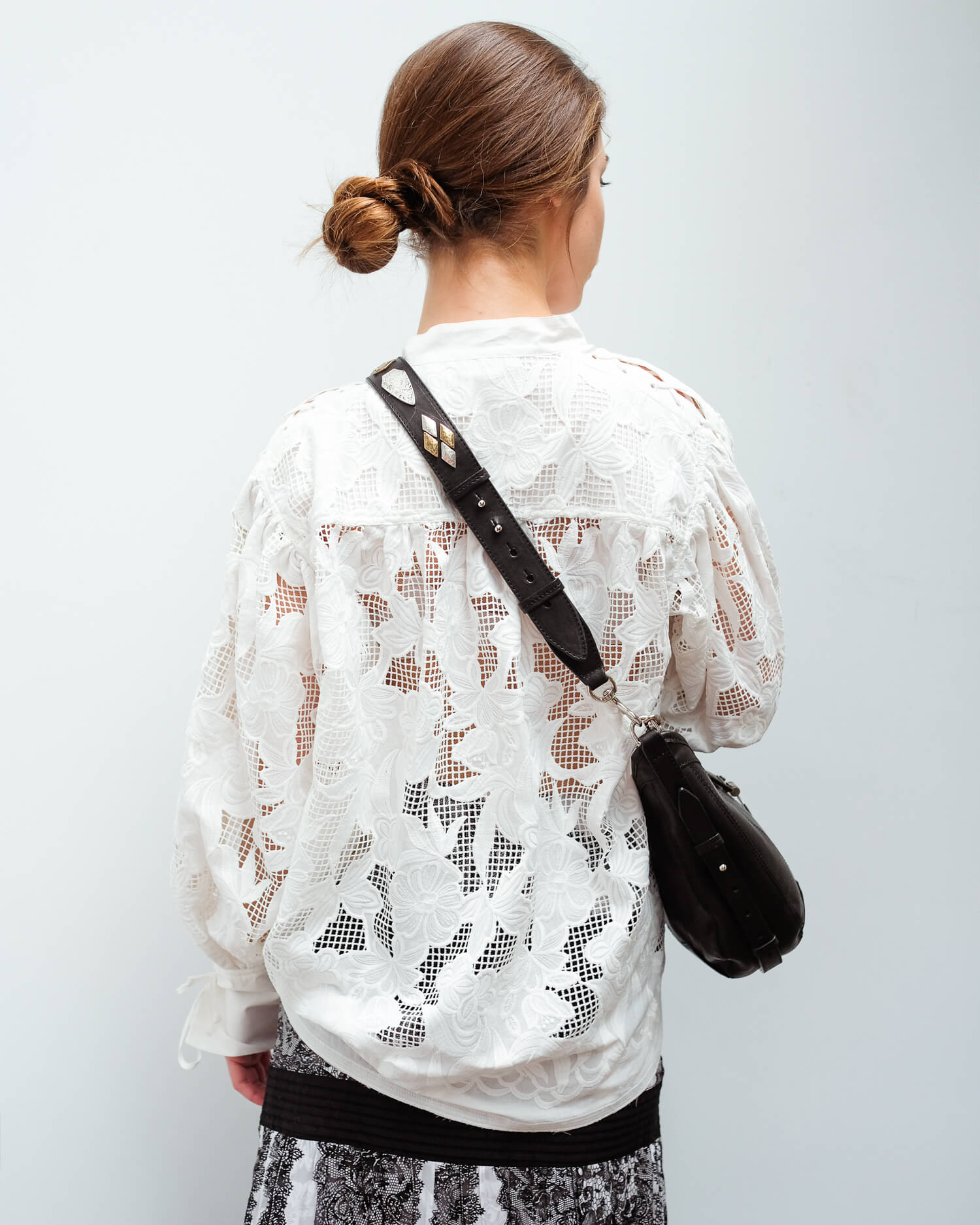 BMB Chalais lace shirt in soft white