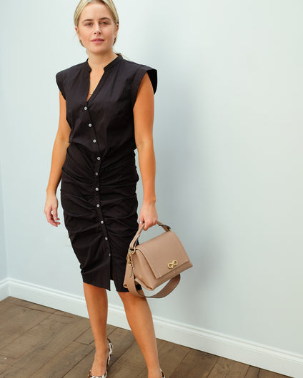 VB Ruched shirt dress in black